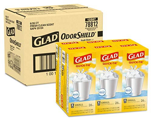 Glad Small Trash Bags - OdorShield 4 Gallon White Trash Bag, Febreze Fresh Clean - 26 Count- Pack of 6