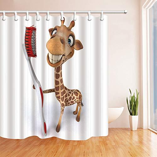Fansu Duschvorhang Anti-Schimmel Wasserdicht Antibakteriell Tiere 3D Drucken, Polyester Transparent Karikatur Vorhang für Badzimmer Digitaldruck mit 12 Duschvorhangringe (180x180cm,Giraffe)