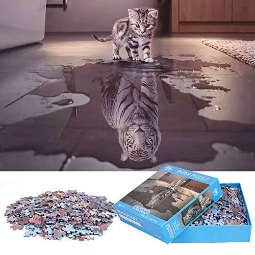 Puzzle de 1000 Piezas Para Adultos,「Gato Con Tigre En Cora
