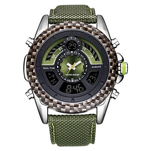WNGJ Nuevos Relojes de Cuero, Reloj multifunción de Deportes de Hombre Muestra Digital Reloj electrónico, Reloj de Hombre Luminoso Impermeable Green