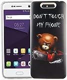 König Design Handy-Hülle kompatibel mit ZTE Blade V8 Silikon Case Hülle Sturzsichere Back-Cover Handyhülle - Don't Touch My Phone Bär mit Kettensäge