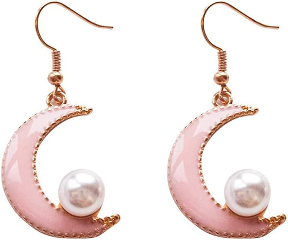 18K Gold Plated Pink Moon Charm With Pearl Earring Women Girls White Pearls Tassel Crescent moon Dangle Drop Earring
