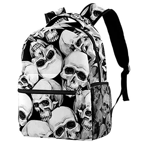 Mochila escolar para niños, estilo gótico, punk, negro, blanco, con cabeza de calavera, mochila de tela trenzada, casual, para niñas y niños
