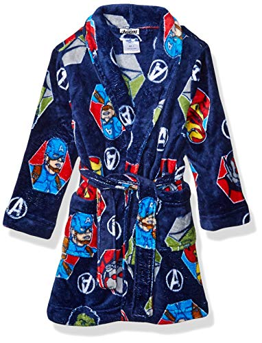 Marvel Boys' Little Avengers Plush Luxe Robe, Reality Blue, 6