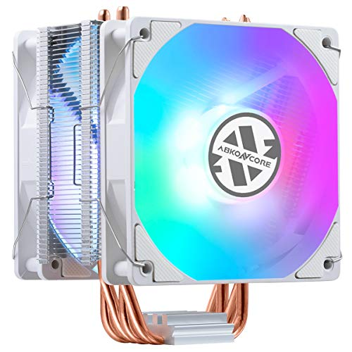 ABKONCORE LED CPU Cooler White CT405W, 120mm PWM Quiet Fan CPU Air Cooler with Hydro Bearing and Anti-Vibration Pads, 4 Direct Contact Heatpipes, Rainbow LED CPU Fan for Intel LGA1151/1200, AMD AM4