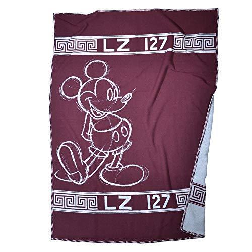 ZOEPPRITZ Mickey Hero Decke – luxuriöse Wolldecke aus Merinowolle und Kaschmir – 140x190 cm – hochwertige Webung – Original Disney Design – (390 Wine)