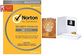 Norton Security Premium - 10 Devices [Key Card] with Amazon.com $10 Gift Card