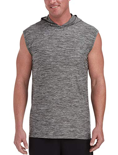 Amazon Essentials Men's Tech Stretch Sleeveless Pullover Hoodie, Black Space Dye, 2XL