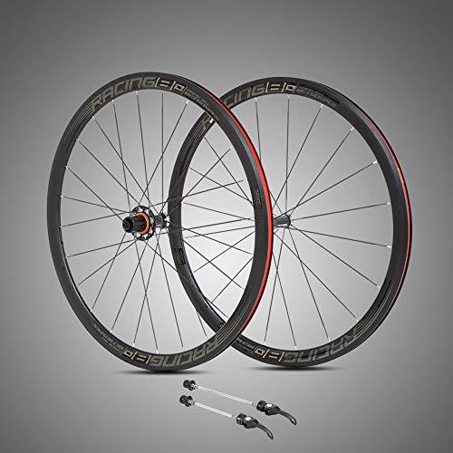 MEROCA Ultra-Light Aluminum Alloy 700C Road Bike wheelset 40mm Rim Sealed Bearing Carbon Fiber hub Colorful Reflective Wheel Set