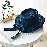 WDSZLH Sombreros de Verano para el Sol para Mujer, Sombrero de Paja de Moda para niña, Lazo de Cinta, Sombrero de Playa, Sombrero de Copa Plano de Paja Informal