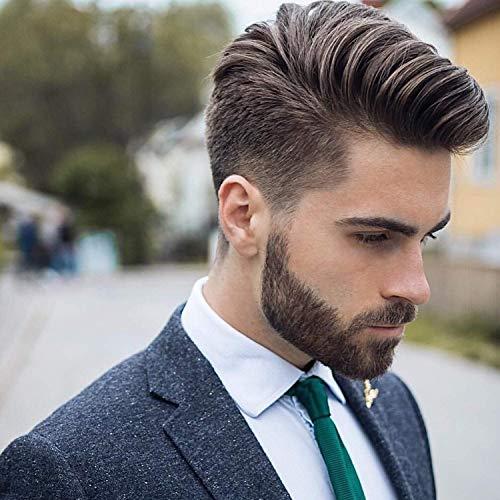 Marrón claro – Cabello humano toupee para hombres con suave encaje súper...
