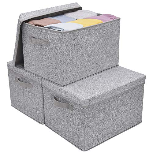 GRANNY SAYS Storage Bins for Closet with Lids and Handles Rectangle Storage Box Fabric Storage Baskets Containers Gray Extra Large 3-Pack
