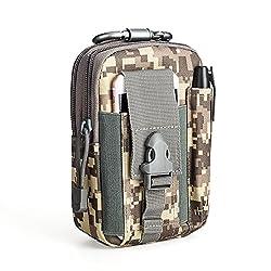 LUZWAY Taktische Hüfttaschen Molle Tasche Gürteltasche 1000D, Hüfttasche Beintasche Multifunktionstasche mit Aluminium Karabiner, für Outdoor Wandern Camping [ ACU Camouflage]