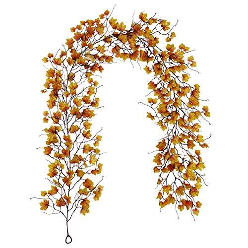 Seraphicar - Ramo de hojas de otoño de ratán, 200 cm de largo, falsificado, hojas de arce para otoño, decoración de otoño