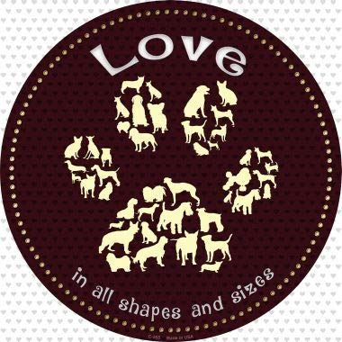 Bargain World Love in All Shapes Novelty Metal Circular Sign (Sticky Notes)