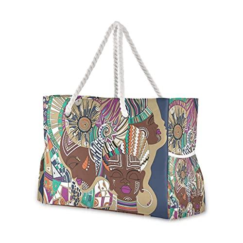 Bolsas de playa grandes Totes de lona, bolsa de hombro, tres abstractas niñas africanas, resistentes al agua, para gimnasio, viajes diarios