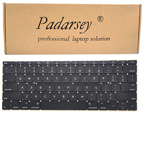 """Padarsey Replacement US Layout Keyboard Compatible for MacBook 12"""" inch MacBook8,1 Retina A1534 MF855LL/A MF865LL/A MJY42LL/A MJY32LL/A MK4N2LL/A MK4M2LL/A Early 2015"""