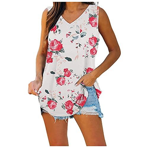 Camiseta de mujer retro con flores, sin mangas, cuello en V, estampado de flores, camisetas de tirantes para mujer, Rosa., L