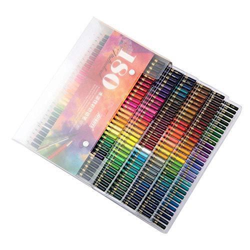 TXYFYP Colores Lápices, 180 Color Madera Color Aceite Pluma Portátil Bolso con Cremallera Infantil Dibujo Dibujo Papelería Lápiz Set para Colorear Libro, Bocetos, Pintura