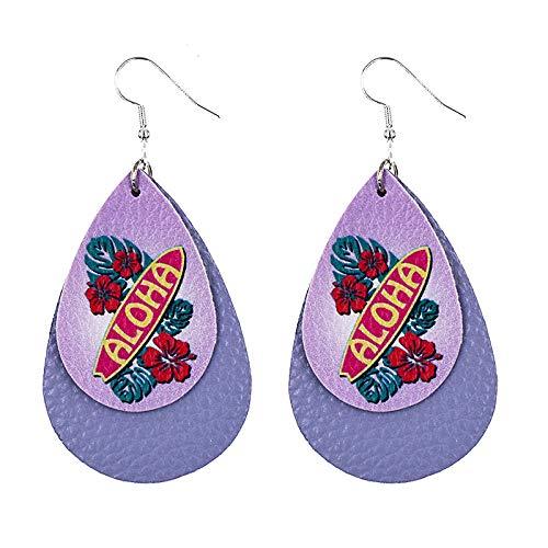 Pendientes Mujer Pendientes De Cuero En Forma De Lágrima Estilo Festivo con Estampado Floral Pendientes En Capas -11