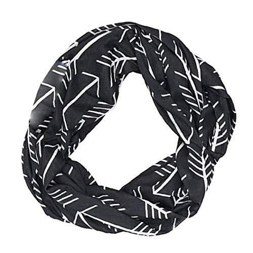 Yoyakie Mujeres Infinity Bufanda Impresa Manera Ligera Bufanda del Abrigo con Bolsillo Loop Bolsillo con Cremallera Pañuelos para Mujeres Niñas