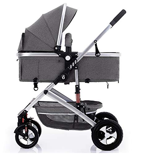 FAFY Pushchair 2 In 1 Baby Stroller Travel System Foldable Infant Buggy With Reversible Bassinet,Grey