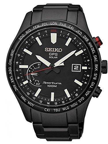 Seiko Herren Analog Solar Uhr mit Edelstahl Armband SSF005J1