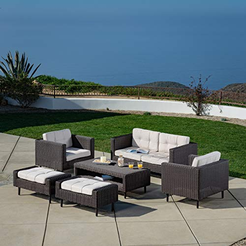 AE Outdoor DPS100290 Tampa 6 Pc. Deep Seating Patio Set, Tan