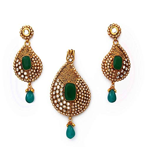 Caratyogi Bollywood Style Pear Shape Pendant Set with Earrings White Cubic Zircon, Green Crystal, Drop Pearl Studded 18K Gold Plated Handcrafted Fashion Statement Set for Women Girls Ladies