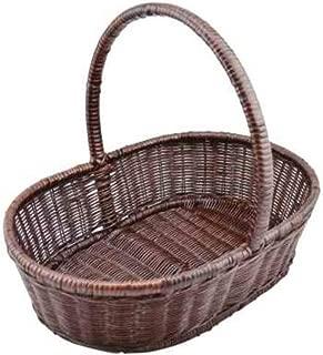 Asdfnfa Shopping Basket Large Capacity Fruit Woven Basket Portable Outing Cane Bamboo Basket asdfnfa (Color : Brown)