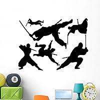 Assorted Silhouettes Samurai Ninja Wall Decal Sticker Set by Wallmonkeys (48 in W x 36 in H) WM275719 [並行輸入品]