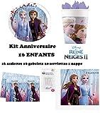 Kit Disney Frozen 2 II completo 16 niños cumpleaños (16 platos, 16 vasos, 20 servilletas, 1 mantel + 10 velas mágicas) fiesta Anna Elsa