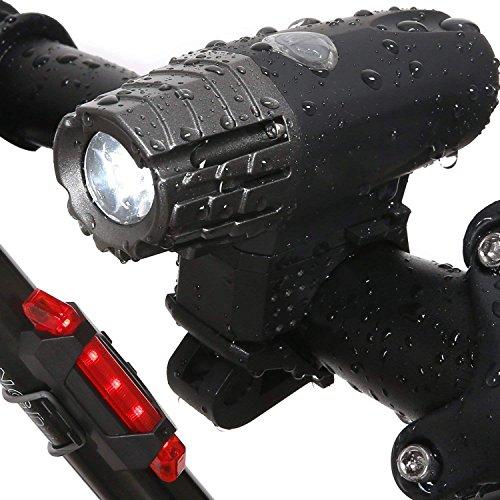 JVSISM Luz Trasera de Bicicleta Faro de Bicicleta - LED Intermitente Frontal Recargable USB de Ciclista de Noche Linterna de Bicicleta