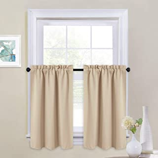 NICETOWN Short Curtain Valances for Cafe - Home Decoration Rod Pocket Tailored Tiers for Small Window (Set of 2, 29 by 36 inches Each Panel, Biscotti Beige)