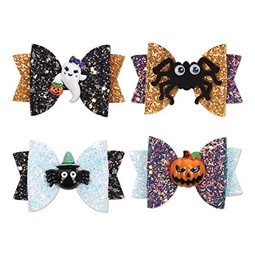 Hifot Accesorios Pelo Niña 4 Piezas,Halloween niña Clips Pelo bebé niña Lazos para el Pelo Boutique Cinta Calabazas Araña Fiestas de Cosplay