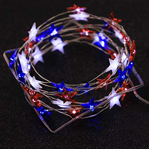 XIWU July 4th Independence Day LED String Lights 10 ft 40 LEDs Battery Operated with Remote for USA American Stars Flag String Lights for Garden Bedroom Festival Holiday Patriotic Decor Memorial Day