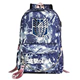 ZZGOO-LL Attack On Titan Eren Jaeger with Chain USB Mochila Backpack Casual Impermeable Viaje de Negocios con Unisex Blue-A