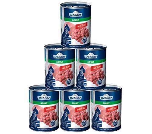 Dehner Premium Katzenfutter Adult, Rind, 6 x 400 g (2.4 kg)