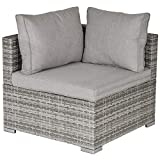 Outsunny PE <span class='highlight'>Rattan</span> Wicker Corner Sofa <span class='highlight'>Garden</span> Furniture <span class='highlight'>Single</span> Sofa Chair w/Cushions, Grey