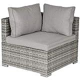 Outsunny PE <span class='highlight'>Rattan</span> <span class='highlight'>Wicker</span> Corner Sofa Garden Furniture Single Sofa Chair w/Cushions, Grey