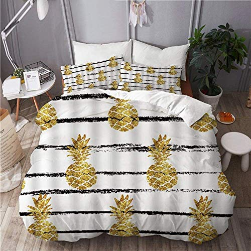 SUPERQIAO Easy Care 3 Pieces Duvet Cover Set & 2 Pillow Shams,Chevron Gold Pineapple Tropical FruitBlack Striped Geometry Modern Stylish,Stylish Luxury Quality Microfiber Quilt Cover