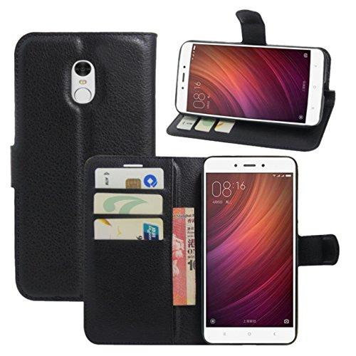 HualuBro Custodia Xiaomi Redmi Note 4, [Intorno Protezione] Custodia in Pelle PU Leather Portafoglio Wallet Protettiva Case Flip Cover per Xiaomi Redmi Note 4 Smartphone (Nero)