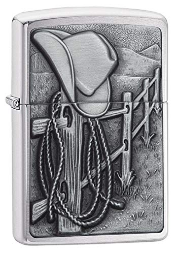 Zippo Resting Cowboy Brushed Chrome Pocket Lighter