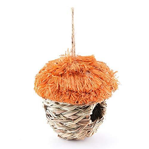 PQXOER Vogelhuisje, met haken en touwen en kunstbloemen, set van 2 nestkasten