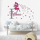 Stickers Muraux Fée Fille Personnalisé Bébé Nom Chambre D'Enfant Décor Fée Soufflant Étoiles Mur Filles Cadeau