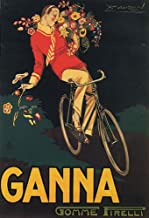 GANNA ITALIAN ROAD BIKE BICYCLE CYCLING BOY FLOWERS ITALY LARGE VINTAGE POSTER REPRO