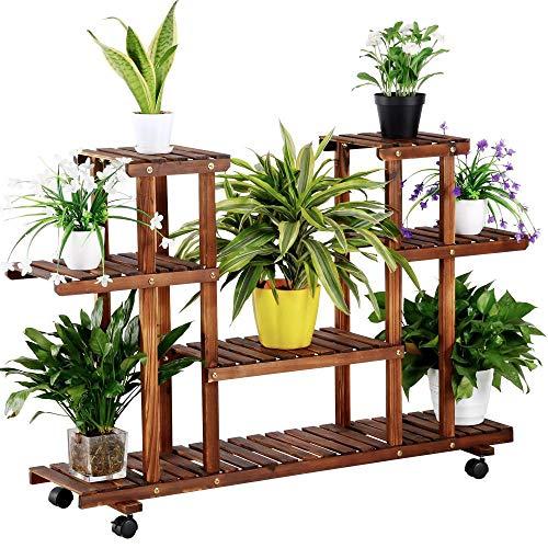 Yaheetech Blumenregal Blumenständer Pflanzentreppe für Indoor Balkon Wohzimmer Outdoor Garten Dekor Pflanzenregal Holz 124 x 33 x 80 cm