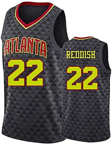 ZMIN Adultos Ropa de Baloncesto Reddish # 22 Hawks Jerseys, Men City Edition Jersey, Chaleco sin Mangas Deportivo Camiseta,Negro,XL