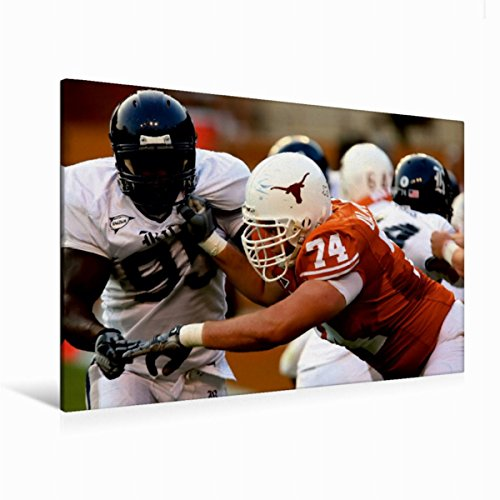 CALVENDO Premium Textil-Leinwand 120 cm x 80 cm quer, Herausforderung | Wandbild, Bild auf Keilrahmen, Fertigbild auf echter Leinwand, Leinwanddruck: Packende Welt des American Football Sport Sport