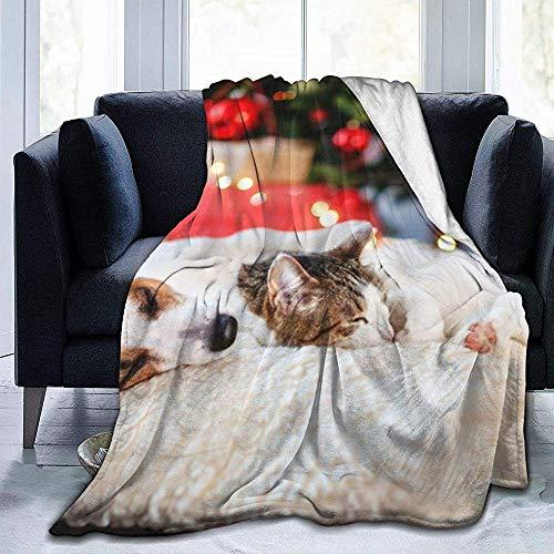 ZAlay Gato Perro durmiendo Debajo árbol Navidad Manta